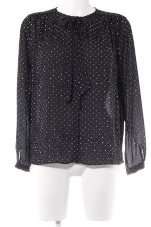 Zara Basic Schluppen-Bluse schwarz-wollweiß Punktemuster Business-Look