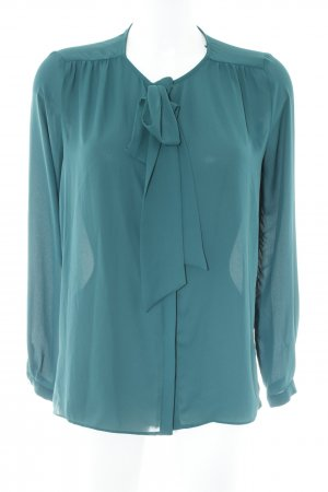 Zara Basic Tie-neck Blouse forest green-petrol business style