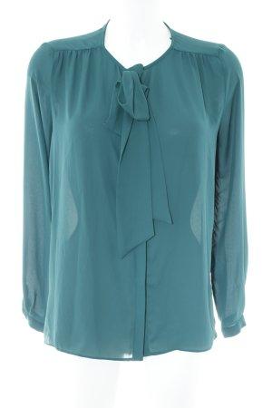 Zara Basic Schluppen-Bluse waldgrün-petrol Business-Look