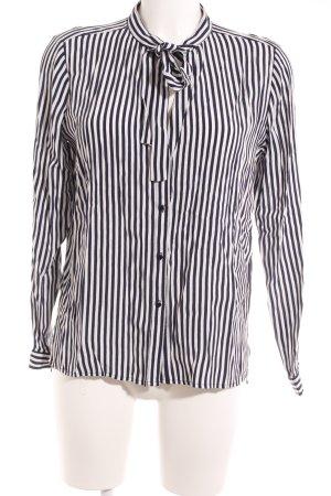 Zara Basic Schluppen-Bluse weiß-dunkelblau Streifenmuster Business-Look