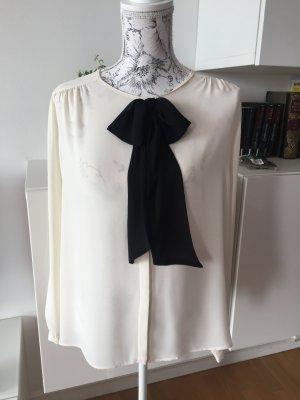 Zara Basic Schluppenbluse Bluse Schleife schwarz weiß cremeweiß Gr L