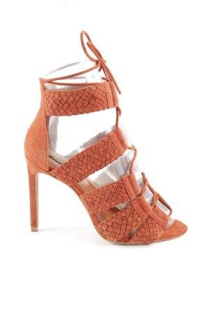 Zara Basic Escarpins à lacets orange clair Motif de tissage style extravagant