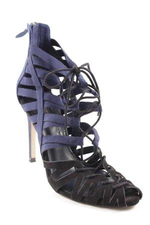 Zara Basic Tacones con cordones negro-azul oscuro estilo extravagante