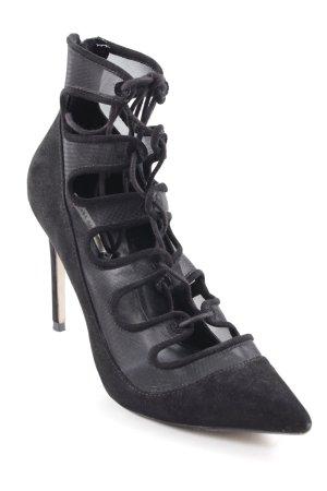 Zara Basic Schnür-Pumps schwarz extravaganter Stil