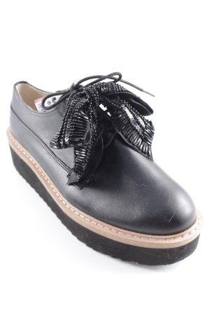 Zara Basic Schnürschuhe schwarz-hellbraun extravaganter Stil