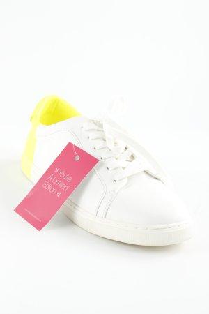 Zara Basic Schnürschuhe weiß-neongelb Colourblocking minimalistischer Stil