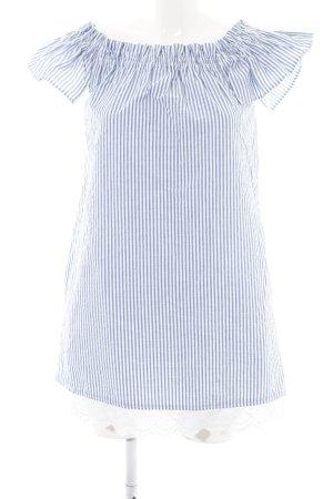 7b49089ebe5b2 Zara Basic schulterfreies Kleid blau-weiß Streifenmuster Elegant
