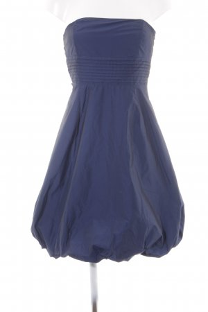 Zara Basic schulterfreies Kleid blau Schimmer-Optik