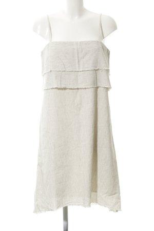 Zara Basic schulterfreies Kleid wollweiß-schwarz Streifenmuster Lagen-Look
