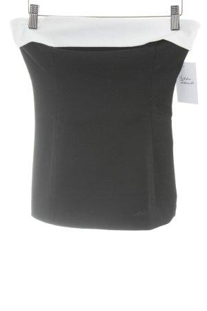 Zara Basic schulterfreies Top schwarz-weiß Elegant