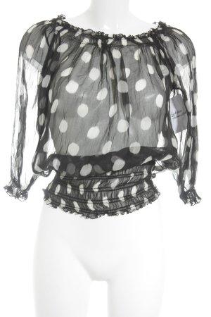 Zara Basic Seidenbluse schwarz-wollweiß Punktemuster Casual-Look