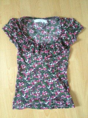 Zara Basic Shirt T-Shirt Blumen M 38 grün pink weiß Schleife Volants