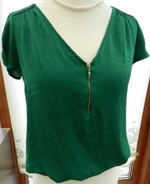 Zara Basic Maglia con scollo a V verde bosco Poliestere