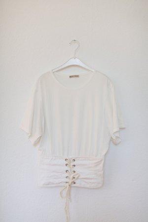 Zara Basic Shirt zum Schnüren weiß Gr. L Oversized Vintage Look Corsage