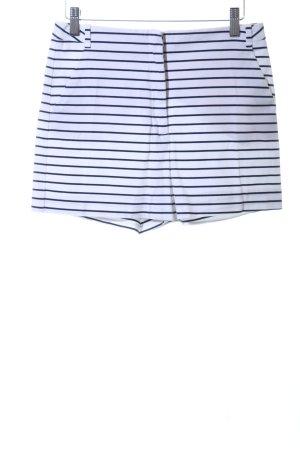 Zara Basic Shorts weiß-blau Streifenmuster Casual-Look