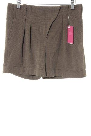 Zara Basic Shorts graubraun-dunkelbraun Hahnentrittmuster Casual-Look