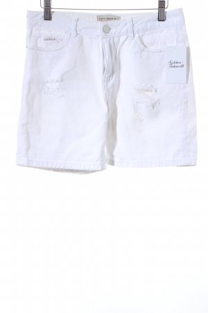 Zara Basic Shorts hellbeige Destroy-Optik