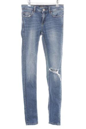 Zara Basic Skinny jeans neon blauw straat-mode uitstraling