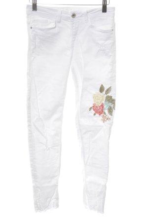 Zara Basic Skinny Jeans weiß Blumenmuster Casual-Look