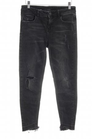 Zara Basic Skinny Jeans anthrazit Destroy-Optik
