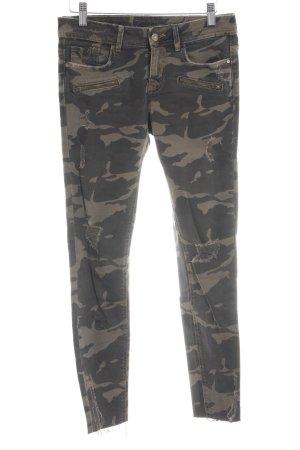 Zara Basic Skinny jeans khaki-bruin camouflageprint casual uitstraling