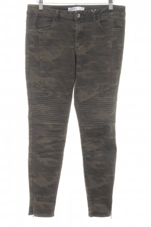 Zara Basic Skinny Jeans olivgrün-grüngrau Camouflagemuster Casual-Look