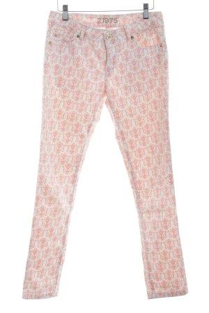 Zara Basic Skinny Jeans weiß-rosa florales Muster Casual-Look