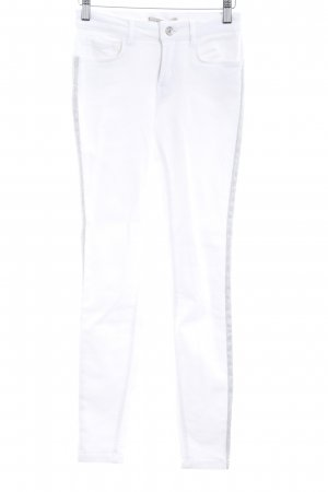 Zara Basic Skinny Jeans weiß-silberfarben Casual-Look