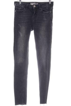 Zara Basic Jeans slim fit grigio chiaro Colore sfumato stile casual