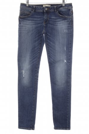 Zara Basic Slim Jeans blau Used-Optik