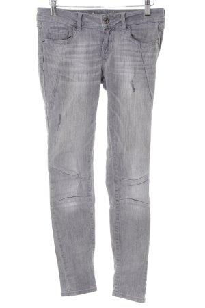 Zara Basic Slim Jeans grau Used-Optik