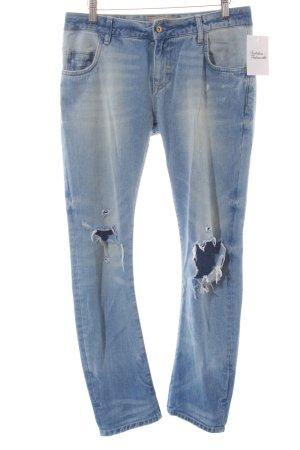 Zara Basic Slim Jeans hellblau Destroy-Optik
