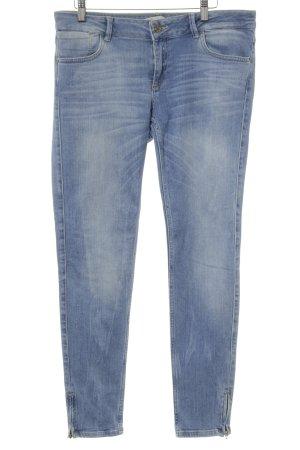 Zara Basic Slim Jeans hellblau Washed-Optik