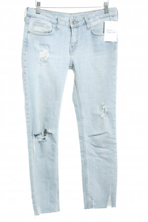 Zara Basic Slim Jeans hellblau-wollweiß Destroy-Optik