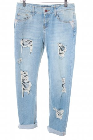 Zara Basic Slim Jeans himmelblau Destroy-Optik