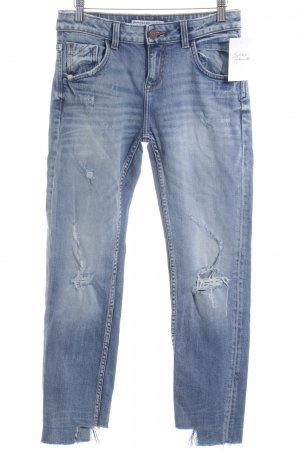 Zara Basic Slim Jeans stahlblau Destroy-Optik