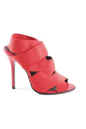 Zara Basic Slingback-Pumps rot-schwarz Elegant