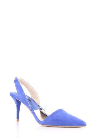 Zara Basic Spitz-Pumps blau Wildleder-Optik