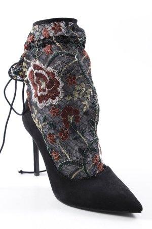 Zara Basic Spitz-Pumps schwarz-bordeauxrot Blumenmuster extravaganter Stil