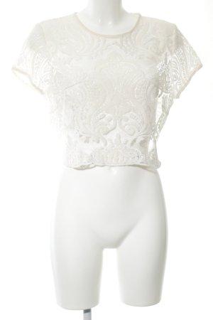 Zara Basic Spitzenbluse wollweiß Blumenmuster Elegant