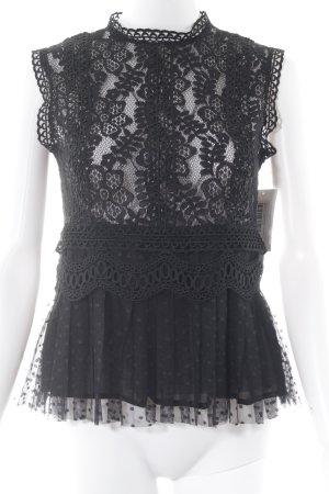 Zara Basic Spitzenbluse schwarz Blumenmuster Elegant