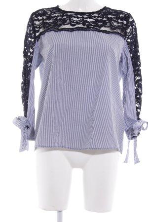 Zara Basic Spitzenbluse weiß-blau Streifenmuster Casual-Look