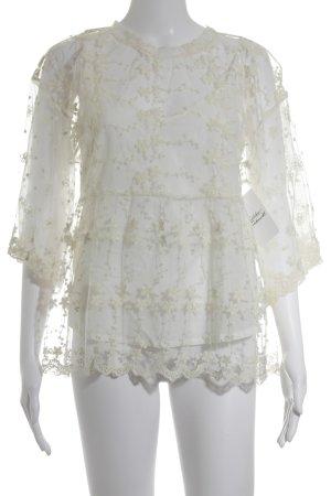 Zara Basic Spitzenbluse wollweiß florales Muster Paris-Look