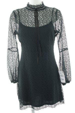 Zara Basic Spitzenkleid dunkelgrün-schwarz Elegant