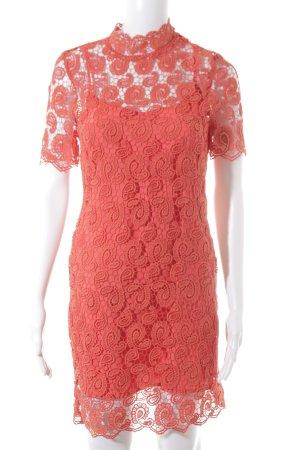 Zara Basic Spitzenkleid neonorange florales Muster Spitzen-Optik