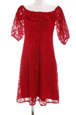 Zara Basic Spitzenkleid rot Casual-Look