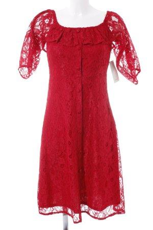 Zara Basic Spitzenkleid rot florales Muster Spitzen-Optik