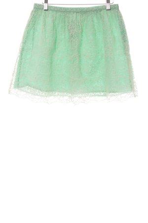 Zara Basic Jupe en dentelle blanc-vert menthe motif de fleur style décontracté
