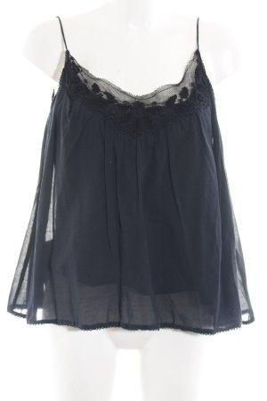 Zara Basic Spitzentop dunkelblau Boho-Look
