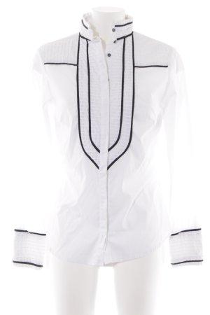 Zara Basic Blusa con collo alla coreana bianco-nero stile professionale